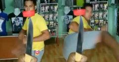 Az MMA harcos újabb szintre emelte a Bottle Cap Challenge-t. Palack helyett kést használt