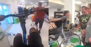 Az embereknek ütköztek, szétdobálták az árut. Egy biciklis banda terrorizálta a szupermarketben levőket.