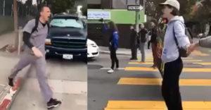 Egy csapat aktivista a zebrán állva lezárta az utcát. Egy felbőszült férfi feloszlatta a tiltakozásukat