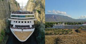Egy 22,5 méter széles kirándulóhajónak sikerült áthaladnia a Korinthoszi-csatornán