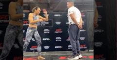 Az MMA harcos csaj pontosan a srác arca előtt akar rúgni. (Gyere csak közelebb)