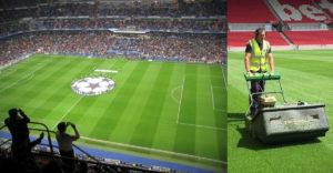 Miért sávos a focipályák füve?