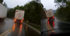 A lejtőn lefelé menet közben elromlottak a fékei. Az eső és a csúszós út nem nagyon segítettek a teherautó sofőrjének