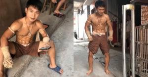 A thai bokszoló bemutatta a törhetetlen sípcsontját (Elgörbítette a fémcsövet)