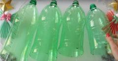 Összegyűjtött  néhány zöld PET palackot és szalagokra vágta azokat. Mintha a karácsonyra lettek volna kitalálva