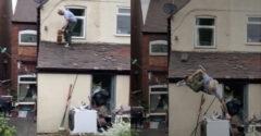 Gördeszkás a tetőn