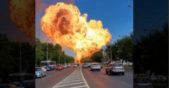 Szörnyű felvételek Oroszországból: Felrobbant egy benzinkút robbant
