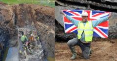 Egy brit férfi egy második világháborús kétéltű csapatszállító járművet ásott ki