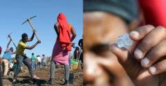 Egy dél-afrikai falu gyémántlázban égett. A földeken több ezer ember ragadott ásót